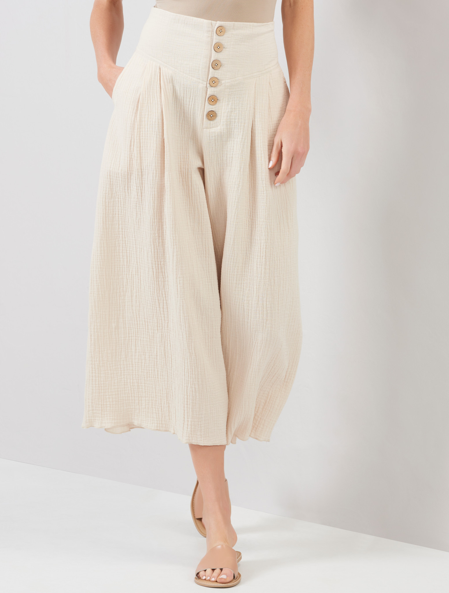 Wide Leg Woven Pants with Buttons (2-Colors)