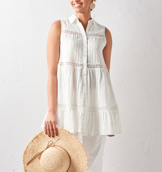 Cotton Eyelet Button Dress