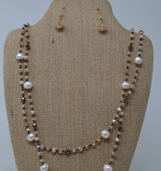 Iridescent Beaded Pearl Necklace Set
