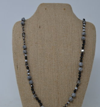 Stone & Iridescent Beaded Necklace
