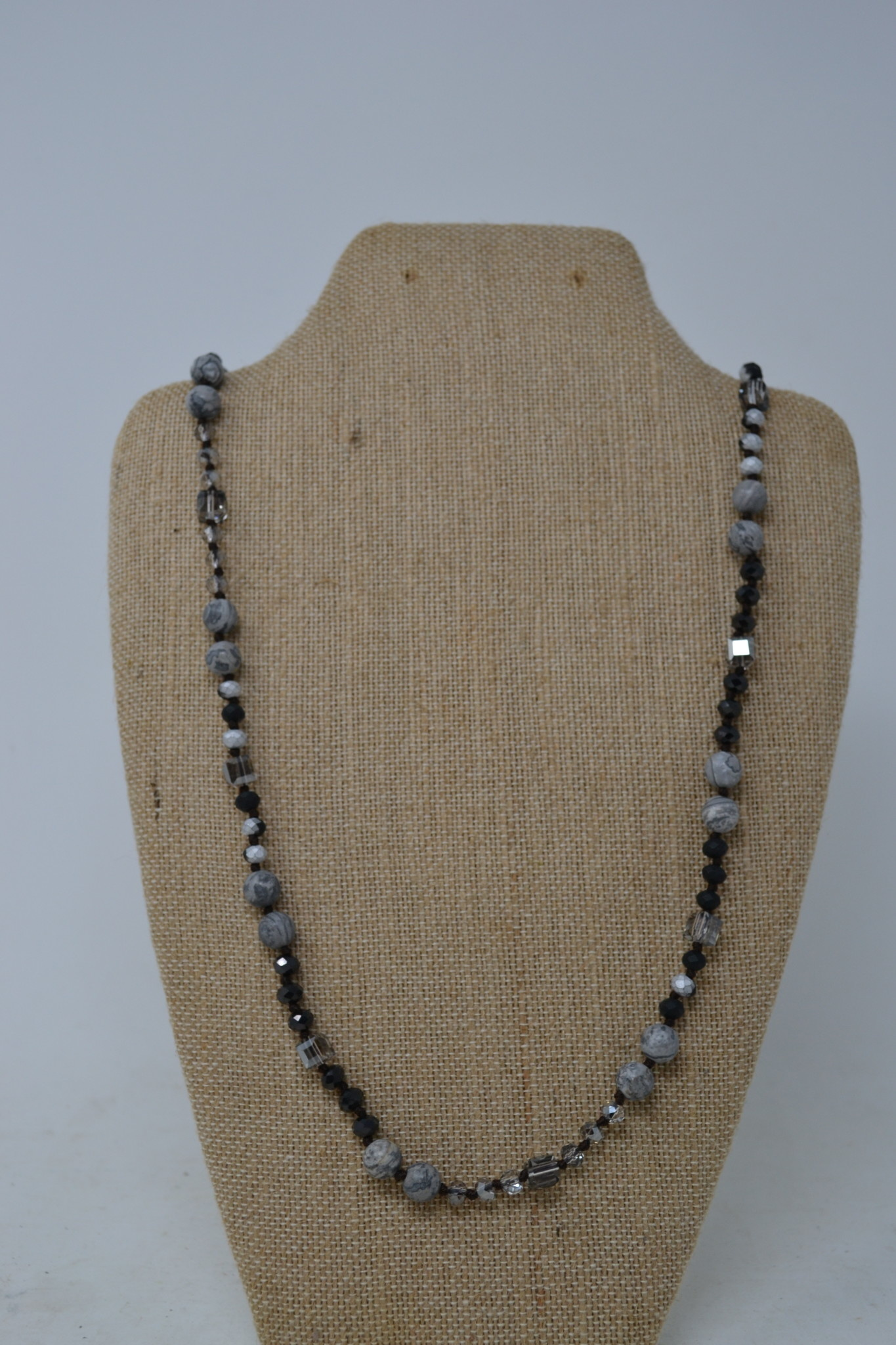 Stone & Iridescent Beaded Necklace