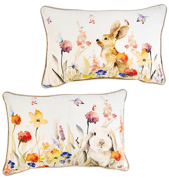 Watercolor Floral Bunny Pillow (2-Styles)