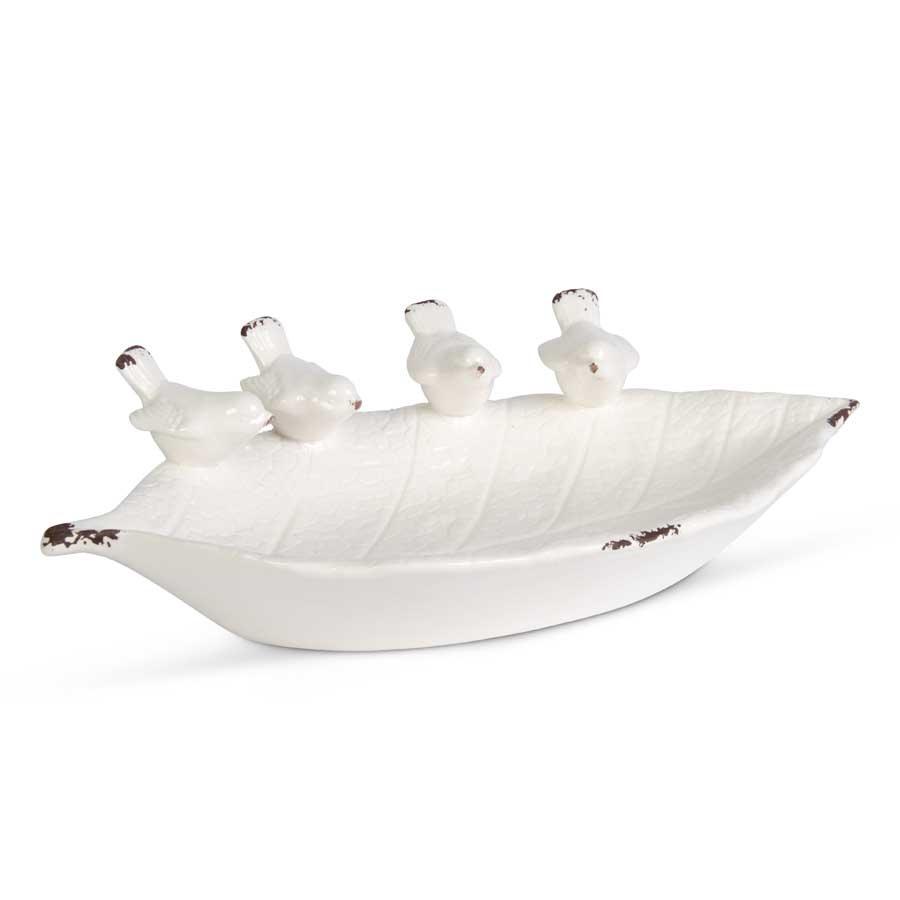 Ceramic Leaf Bowl with Four Birds