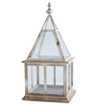 "32"" Square Distressed Terrarium Lantern"