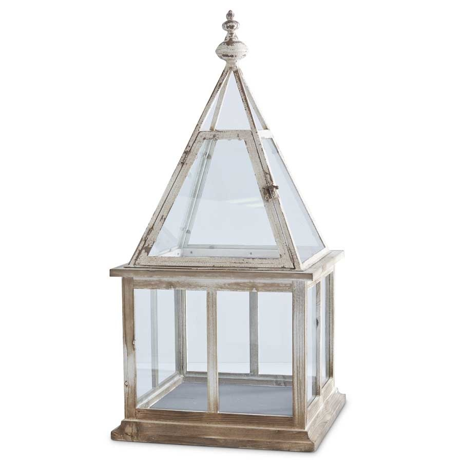 """32"""" Square Distressed Terrarium Lantern"""