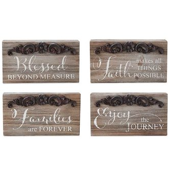 Rustic Tin & Wood Block Sign (4-Styles)
