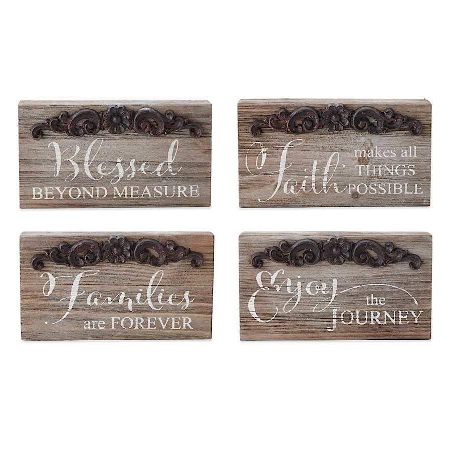 Rustic Tin & Wood Block Sign (4-Styles)