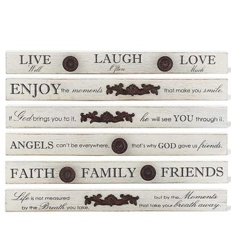 Metal Accented Skinny Wood Sign (6-Sty;es)