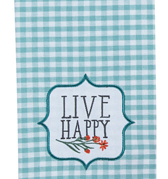 Live Happy Plaid Tea Towel