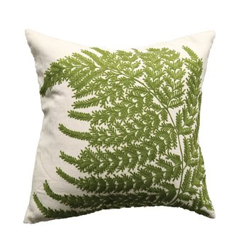 Square Embroidered Fern Frond Pillow