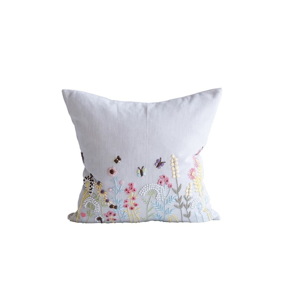 Embroidered Pastel Wildflower Pillow
