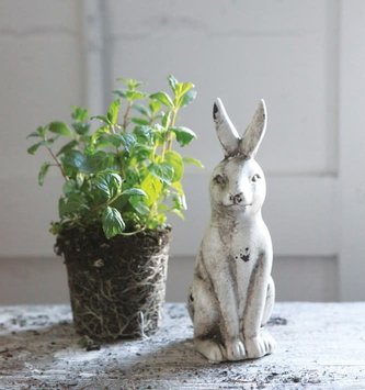 Sitting Distressed Cream Crackle Bunny
