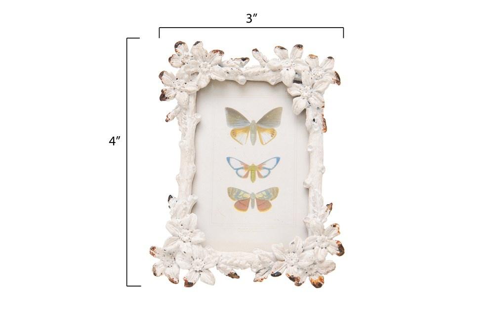 Distressed Mini Metal Floral Frame