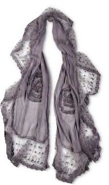 Embroidered Frilly Lace Scarf (4-Colors)