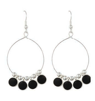 Black & Silver Disc Hoop Earrings