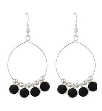 Black & Silver Disc Hoop Earrings