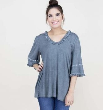 Ruffles and Pearl 3/4 Sleeve Top (3-Colors)