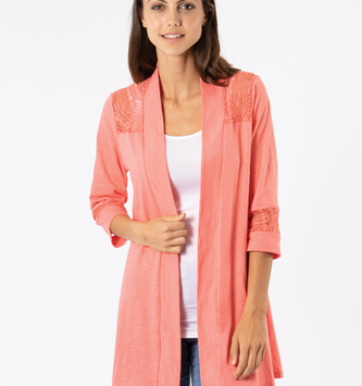 Simply Noelle Simply Noelle Paradise Lace Trim Cardigan (2-Colors)