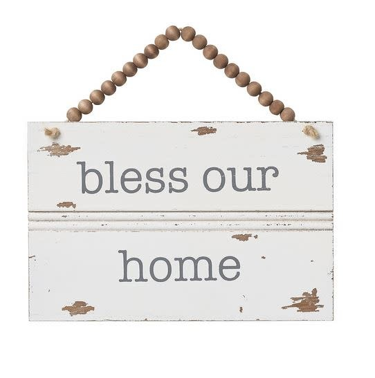 Beaded Bless Our Home Trim Sign