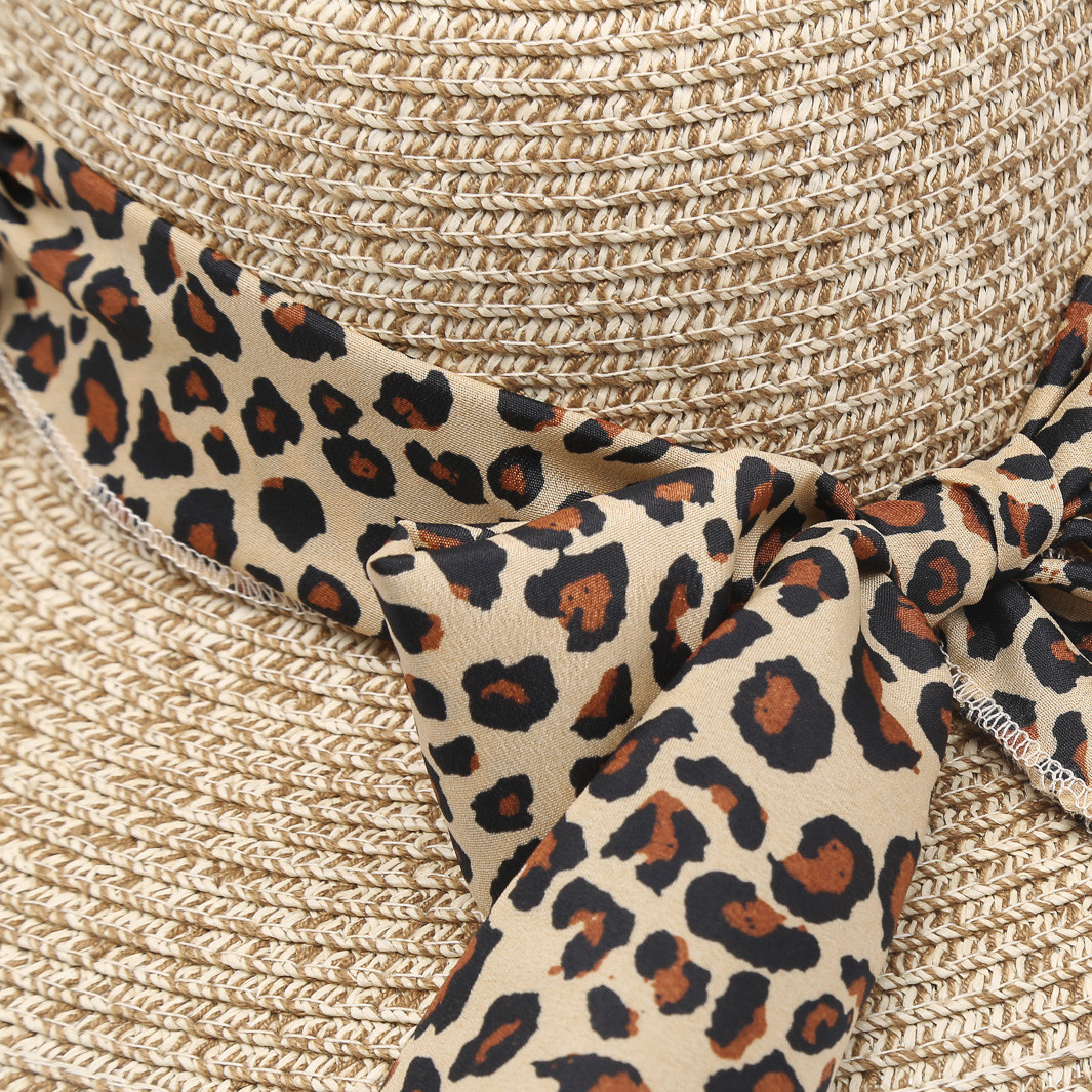 Natural Seagrass Hat With Leopard Ribbon