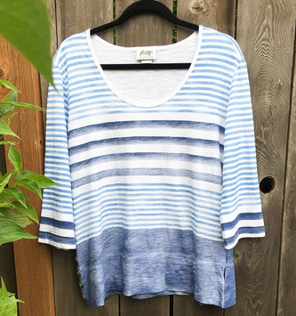 Wild Palms Striped Split Button Side Top (2-Colors)