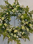 Custom White Phlox & Viburnum Wreath