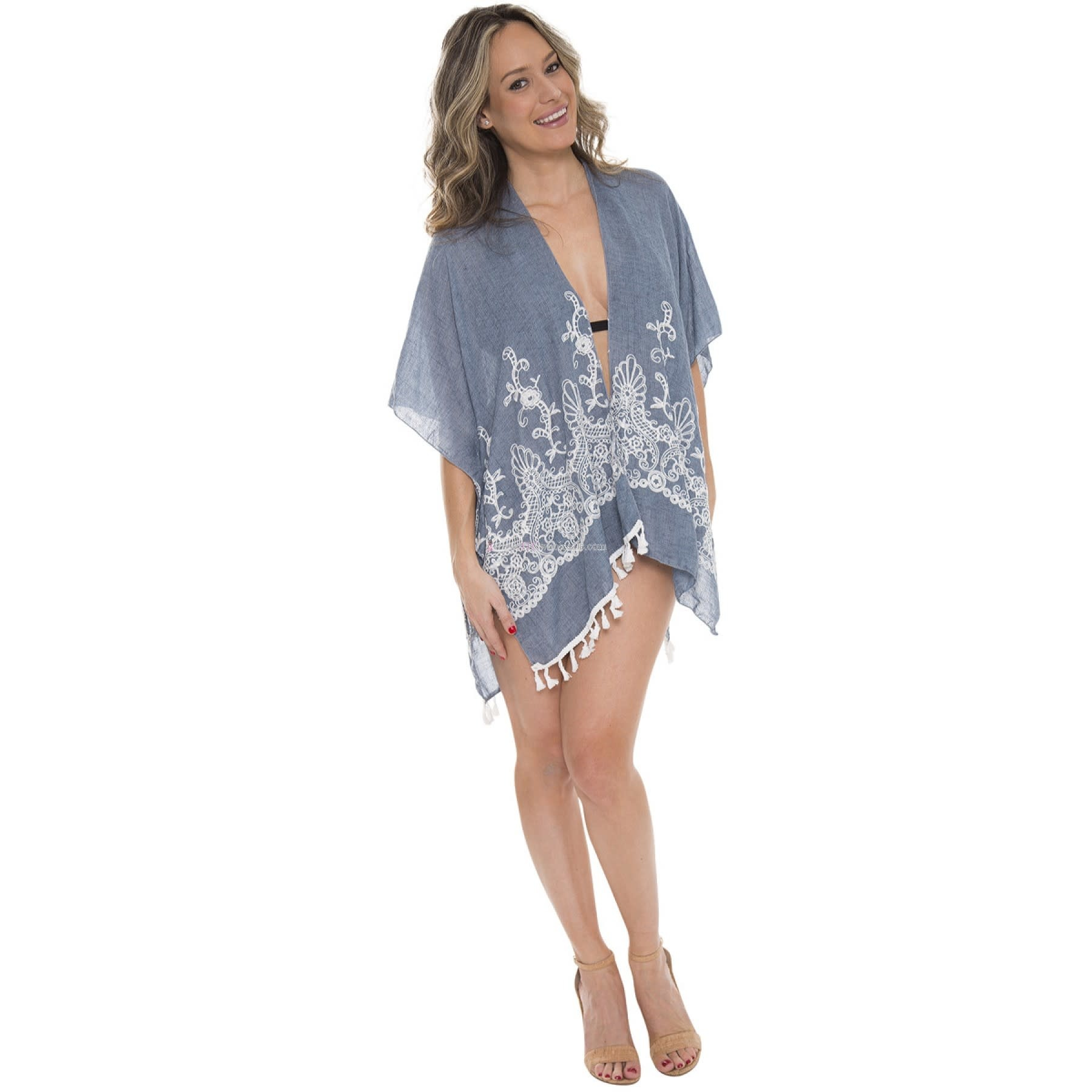 Embroidered Floral Kimono with Tassels