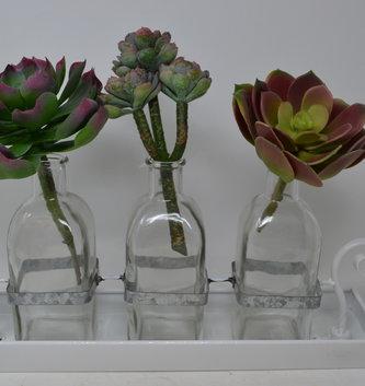 Galvanized Enamel Tray with 3-Bottles