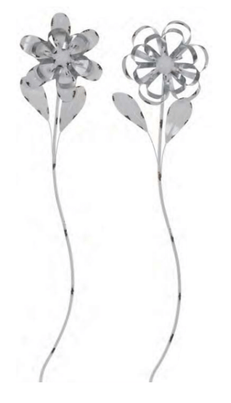 Distressed Enamel & Tin Flower Stake (2-Styles)