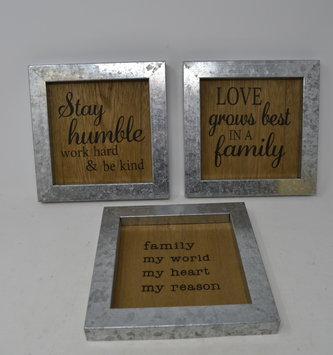 Wooden Sign w/ Galvanized Frame (3-Styles)