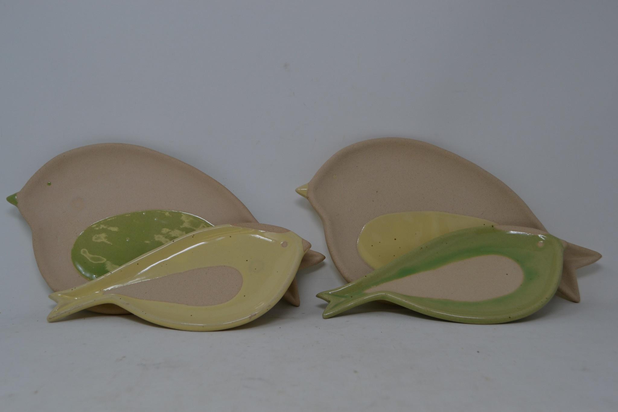 Ceramic Bird Plate (2-Sizes) (2-Colors)