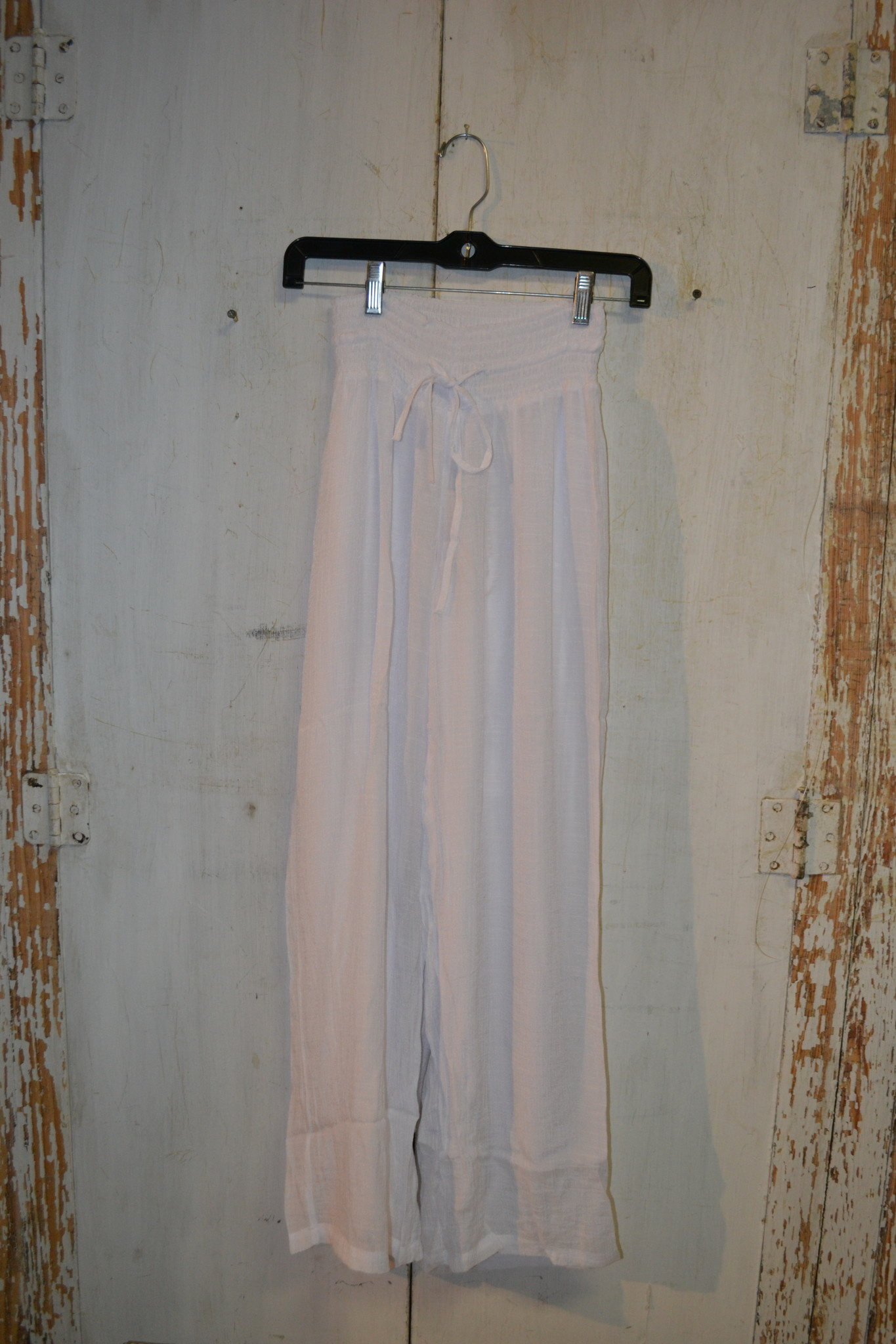 White Lined Flowy Pants (4-Sizes)