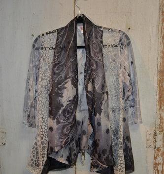 Mixed Chiffon Lace Print Cardigan (4-Sizes)
