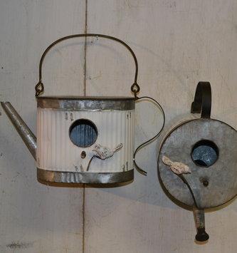 White Galvanized Teapot Birdhouse (2-Styles)