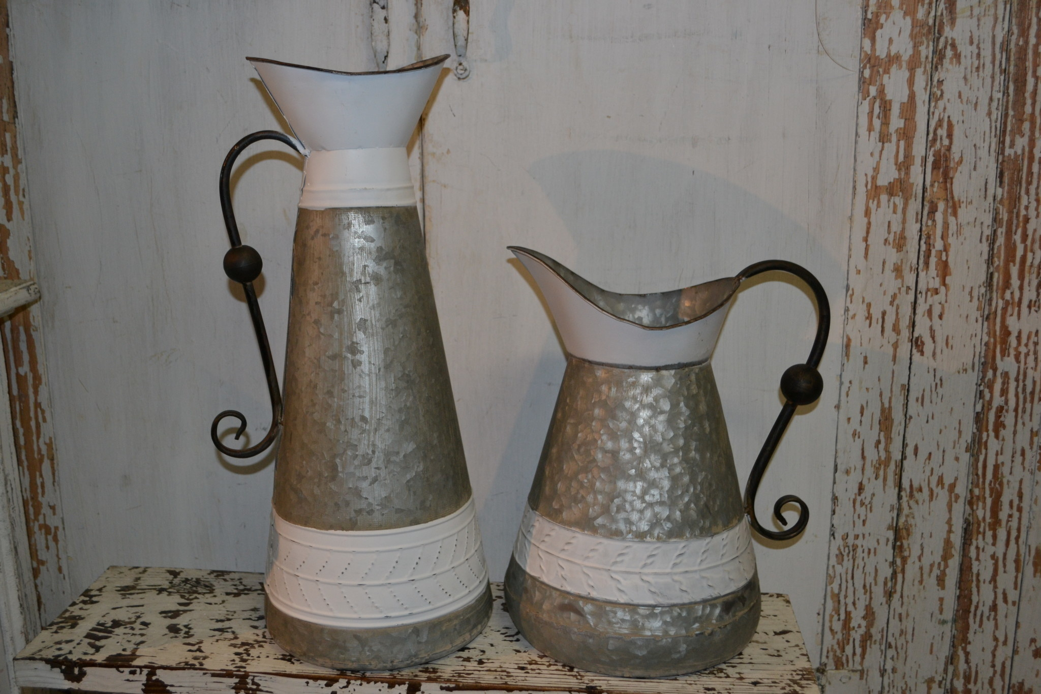 Galvanized White Trimmed Pitcher (2-Sizes)