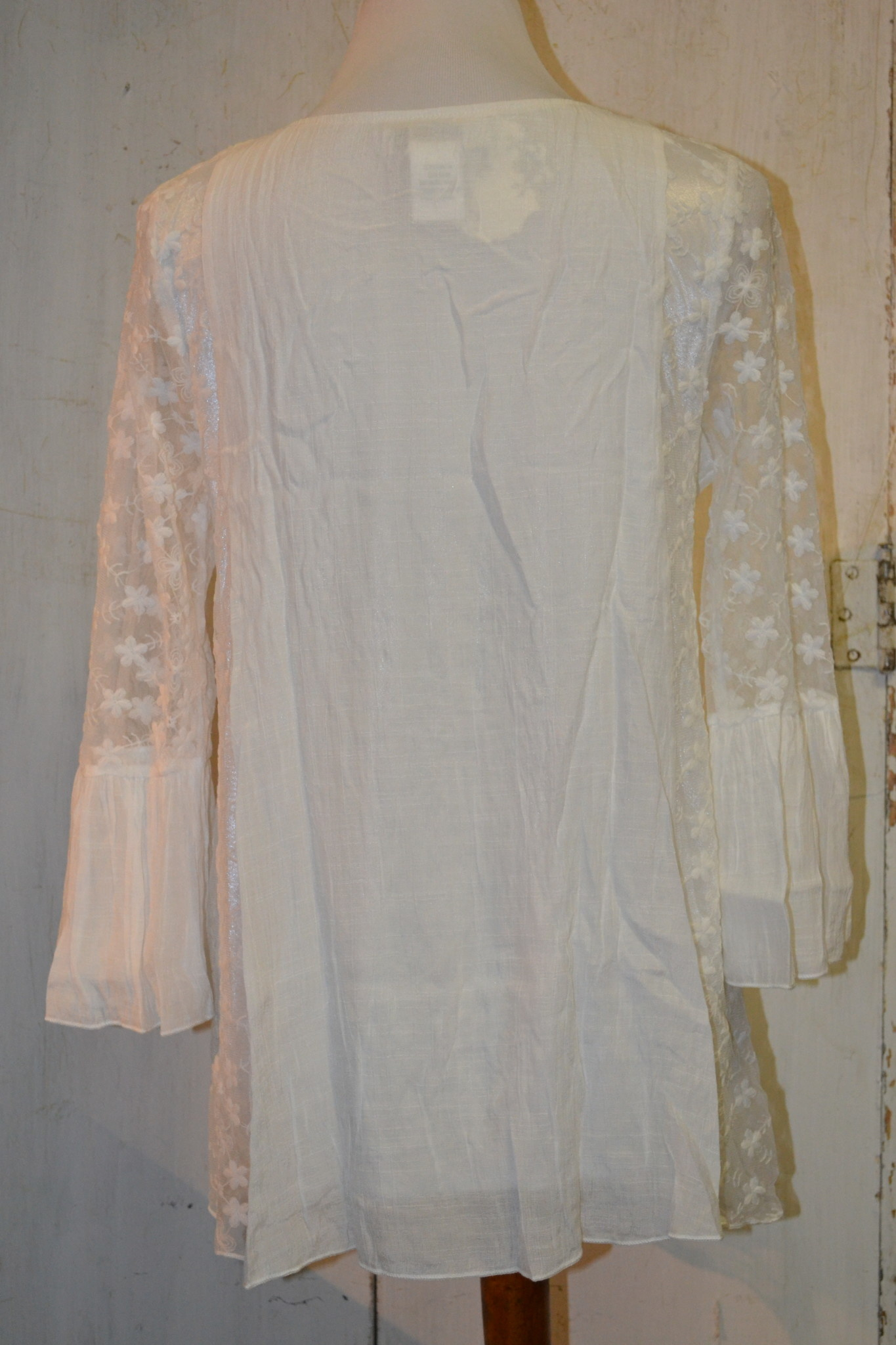 Sheer Floral Lined Tunic White (4-Sizes)