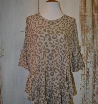 Animal Print Ruffle Edge Tunic (4-Sizes/3-Colors)