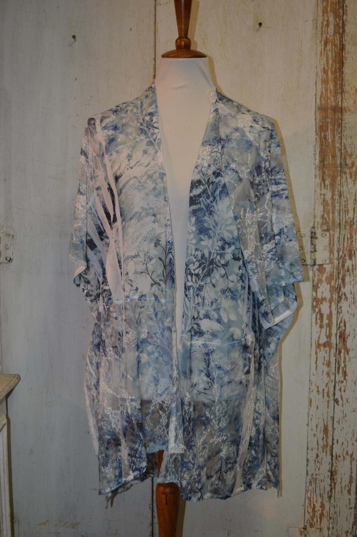 Navy Lace Kimono (4-Sizes)