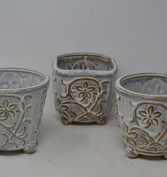 Embossed Daisy Pottery Container (3 Styles)