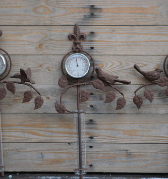 Rustic Rain Gauge Thermometer Bird Stake (3-Styles)