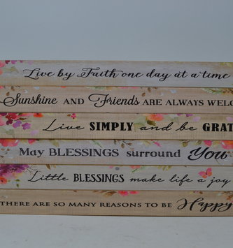 Floral Skinny Wooden Sign (6-Styles)
