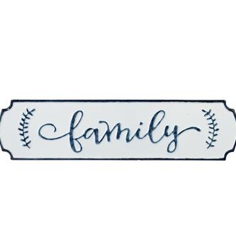Blue & White Enamel Family Sign