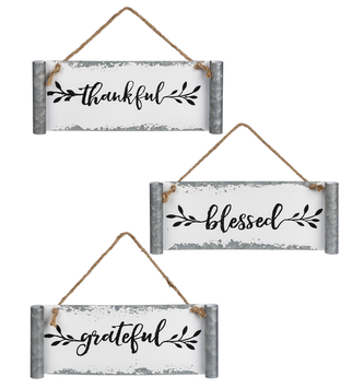 Galvanized Hanging Scroll Sign (3-Styles)