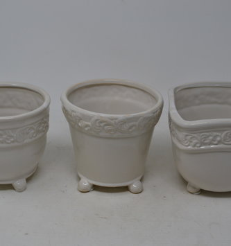 Filigree Trimmed Cream Container (3-Styles)