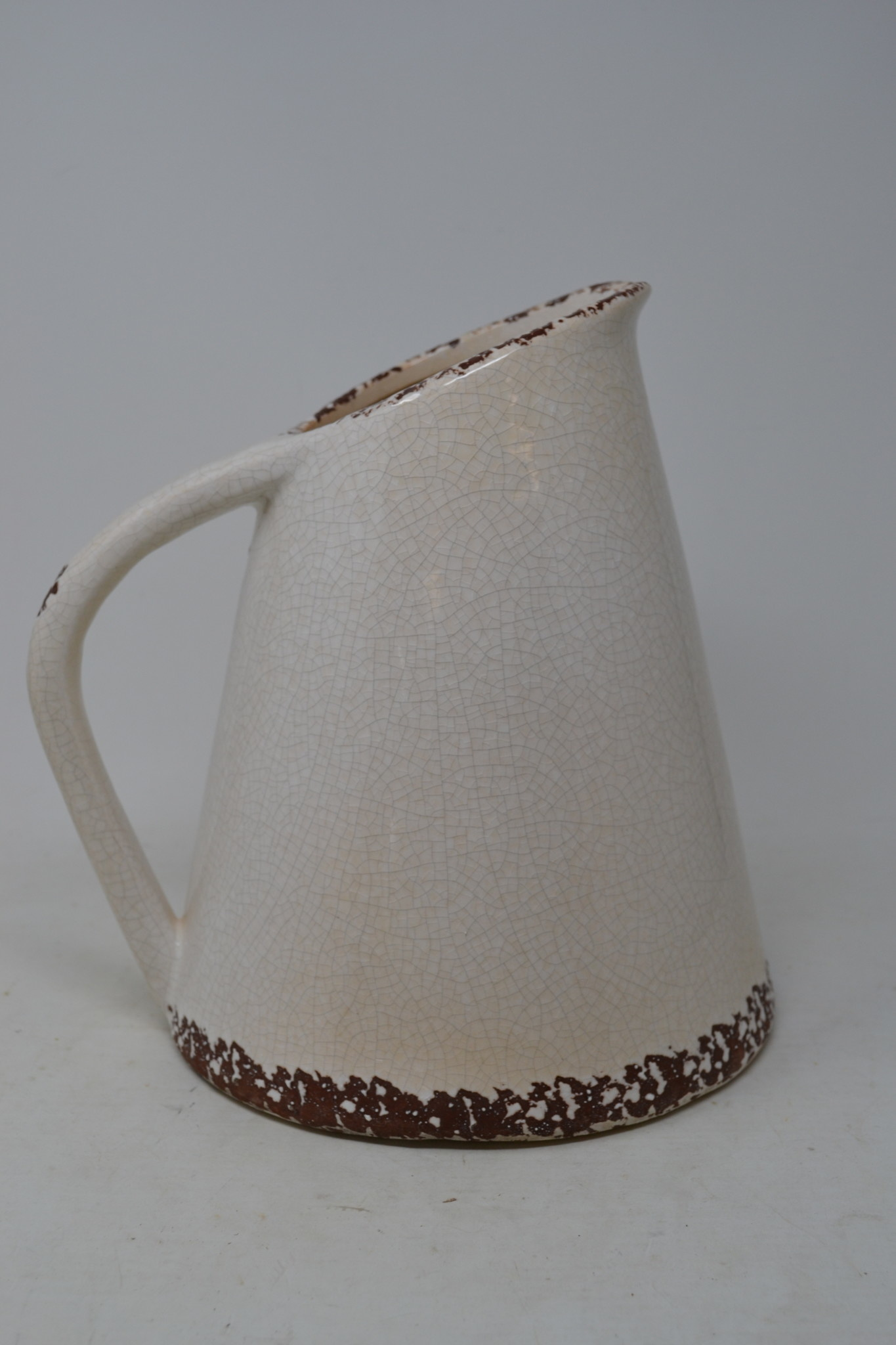 Crackled Cream Pottery Pitcher