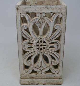 Cream Decorative Square Candle Holder