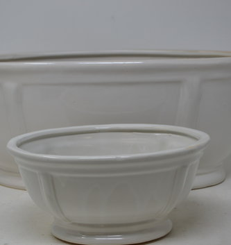 Cream Ceramic Oval Container (2-Sizes)