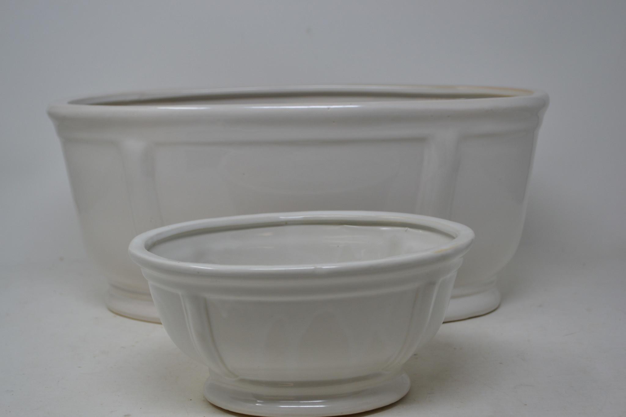 Cream Ceramic Oval Container (2-Sizes)