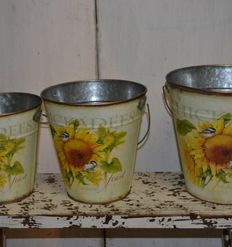 Cream Sunflower Pail (3-Sizes)