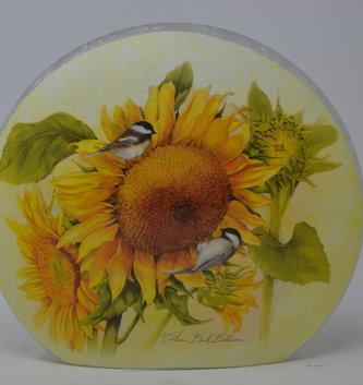 Chickadee & Sunflower Lighted Glass Disk